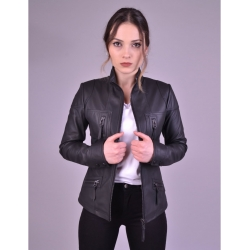 Melody Womens Black Fitted Leather Jacket