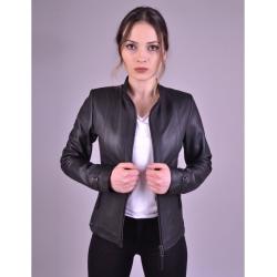 Kibyra Womens Black Leather Jacket