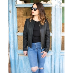 Kate Black Collarless Womens Fitted Leather Jacket