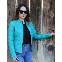 Salda Womens Jade Quilted Leather Jacket