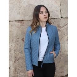 Salda Womens Indigo Quilted Leather Jacket
