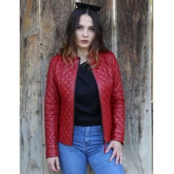 Salda Womens Red Quilted Womens Leather Jacket