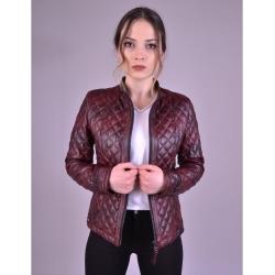 Salda Womens Shade Bordo Quilted Leather Jacket