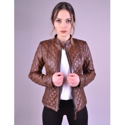 Salda Womens Shade Brown Quilted Leather Jacket