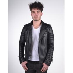 Venus Mens Black Biker Leather Jacket
