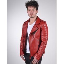 Venus Mens Red Biker Leather Jacket