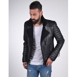 Venus Mens Shearling Black Leather Biker Jacket