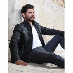 Sandor Mens Black Quilted Leather Jacket