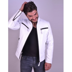 Sandor Mens White Quilted Leather Jacket
