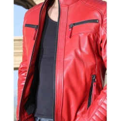 Sandor Mens Red Quilted Leather Jacket