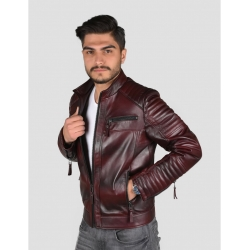 Sandor Mens Shade Bordo Quilted Leather Jacket