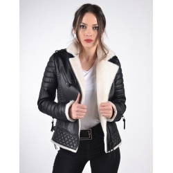 Venus White Shearling Leather Biker Jacket
