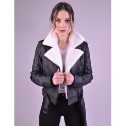 Jaime Womens Shearling Biker Jacket