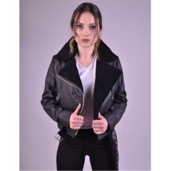 Jaime Shearling Womens Biker Jacket