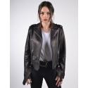 Eclipse Womens Classic Biker Black Merino Leather Jacket