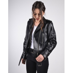 Eclipse Womens Classic Biker Black Gloss Leather Jacket