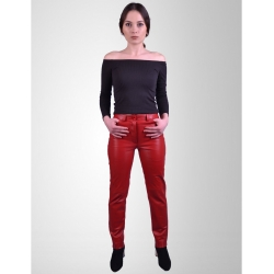 Levi Womens Red Leather Jeans