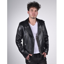 Eclipse Mens Classic Biker Black Gloss Leather Jacket