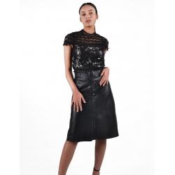 Anna black leather skirt