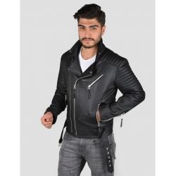 Marlon black leather jacket sh