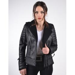 Venus Womens Shearling Black Leather Biker Jacket