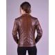 Alexa Womens Shade Brown Biker Leather Jacket