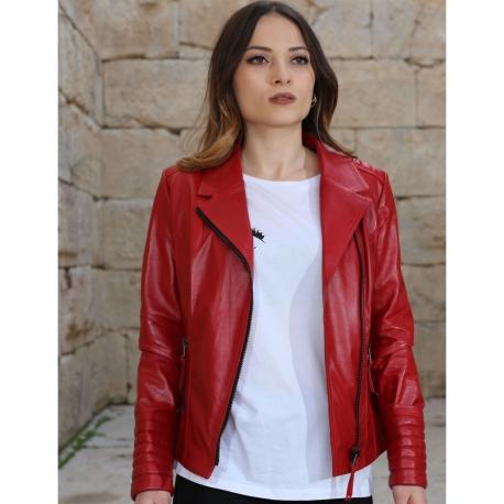Alexa Womens Red Leather Biker Jacket