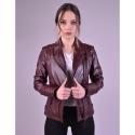 Alexa Womens Burgundy Biker Leather Jacket