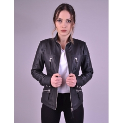 Melody Black Womens Fitted Leather Jacket