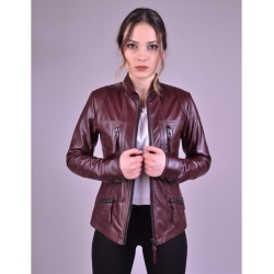 Melody Womens Burgundy Fitted Leather Jacket