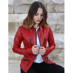 Melody Womens Red Fitted Leather Jacket