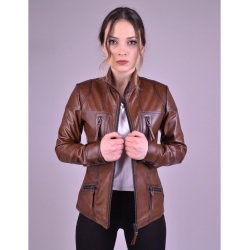 Melody Womens Shade Brown Fitted Leather Jacket